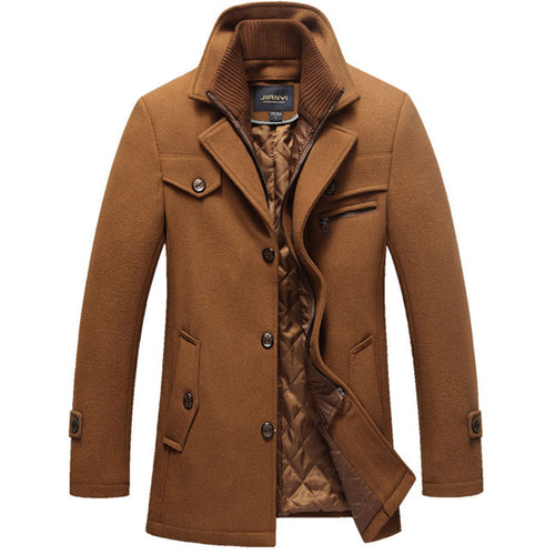 Lapel Long Sleeve Plain Patchwork Men's Trench Coat