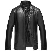 PU Single-Breasted England Plain Casual Men's Leather Coat