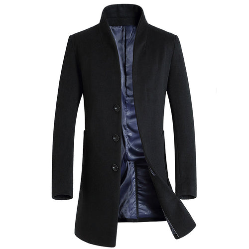 Stand Collar Formal Plain Woolen Men's Trench Coat