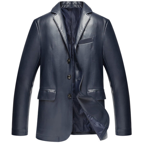 Single-Breasted Slim PU Long Sleeve Men's Leather Coat
