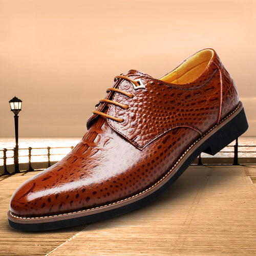 Men's Crocodile Pattern Handmade Leather Shoes
