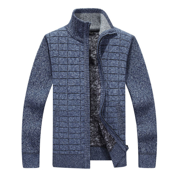 Lattice Pattern Warm Loose Zip-up Stand Collar Men's Sweater