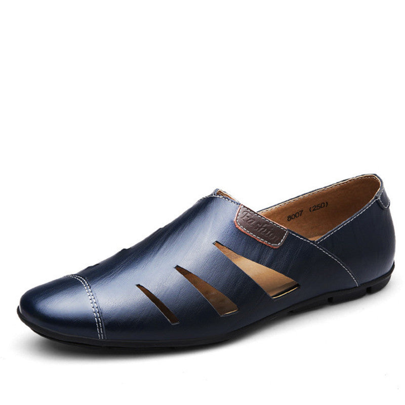 Big Size Breathable Leather Sandal Men Loafer Shoes