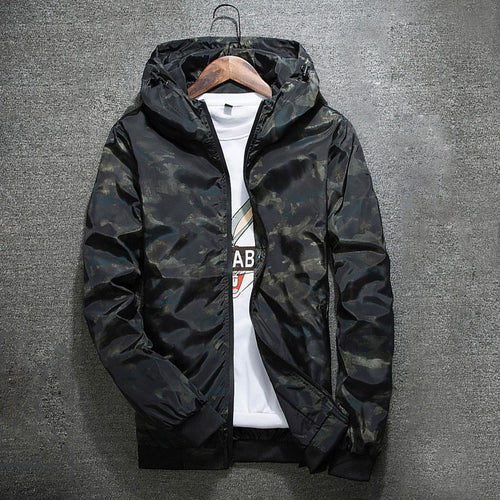 Spring Autumn Casual Camouflage Hoodie Men's Waterproof Jacket
