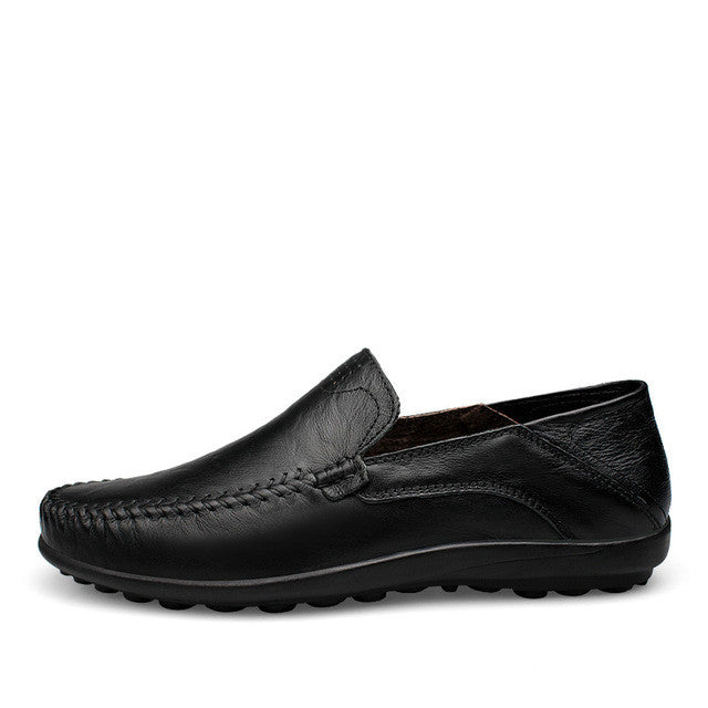 Big Size Loafer Genuine Leather Mens Breathable Shoes