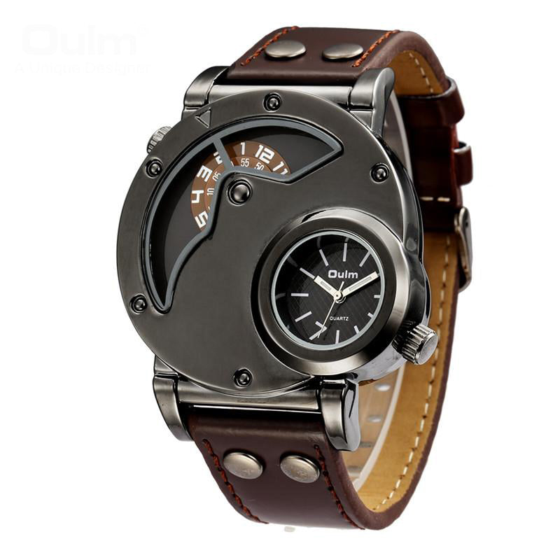 Luxury Leather Strap Military Sport Wristwatch