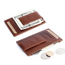 Vintage Genuine Leather Money Clip Wallet with Clip