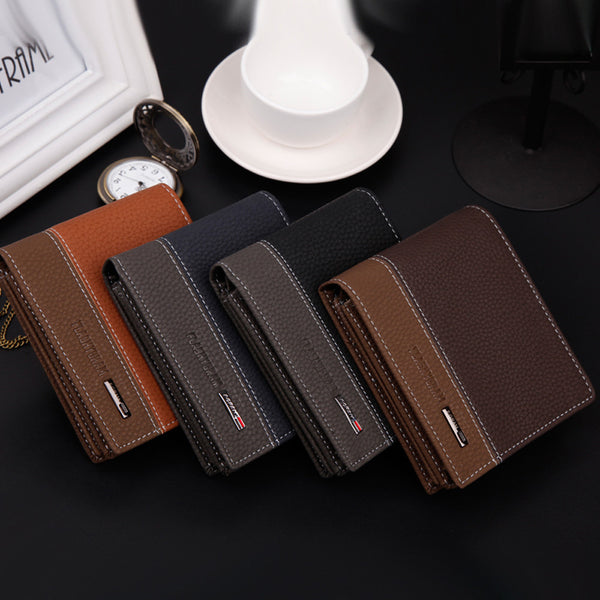 Male Luxury Famous Brand Short Leather Wallet