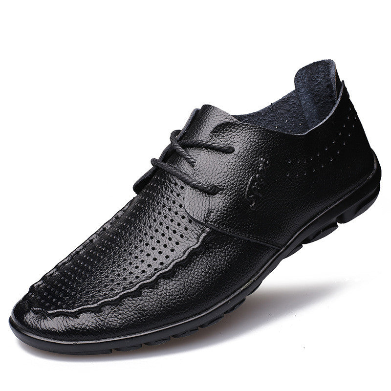 Mens Fashion Genuine Leather Loafers Breathable Shoes