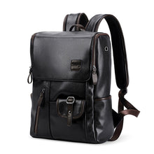 External USB Charge Anti-theft School Bag PU Leather Travel Casual Backpack