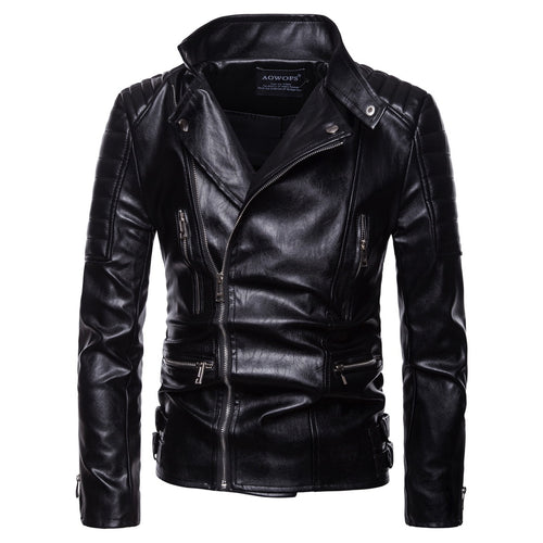 Casual Punk Style Zipper Decorated Men's Leather Coat