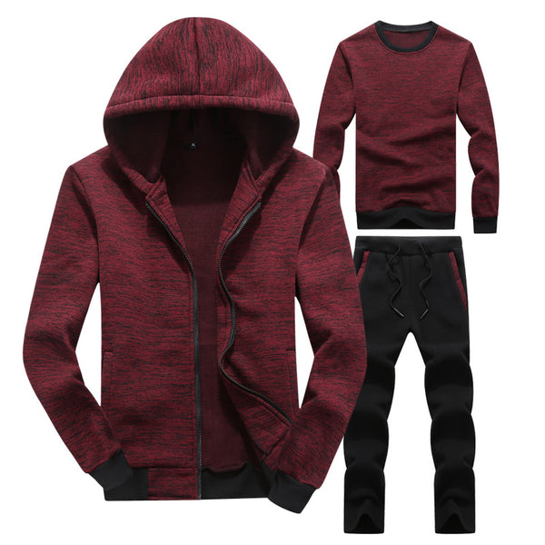 Warm Stand Collar Gradient Men's Sports Suit