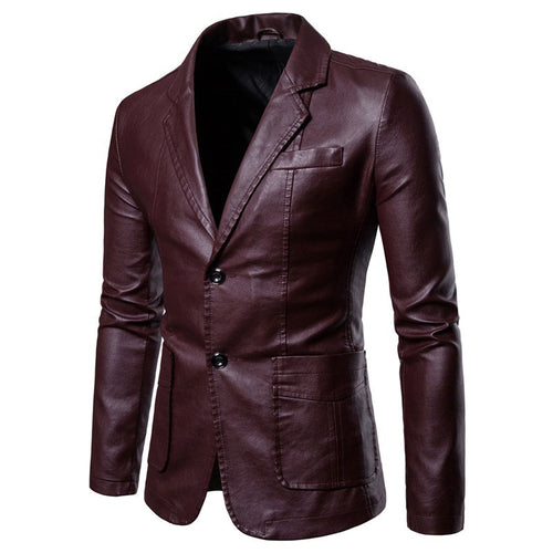 PU Striped Pocket Casual Men's Leather Coat