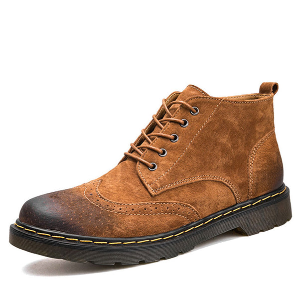 Leather Winter Ankle  Footwear Lace Up Men's Boots