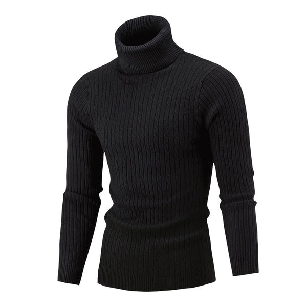 Pullover Turtleneck Acrylic Plain Stripe Men's Sweater