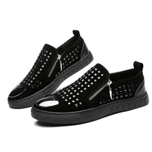 Breathable Slip On Zippered Men's Flat Shoes