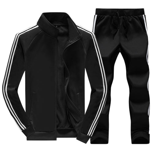 Collar Striped Straight Tube Home Men's Sports Suit
