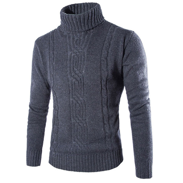 Coarse Wool Heap Collar Long Sleeve Jacquard Men's Sweater