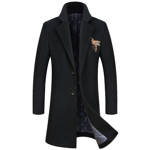 Embroidery Business Thickened Men's Trench Coat