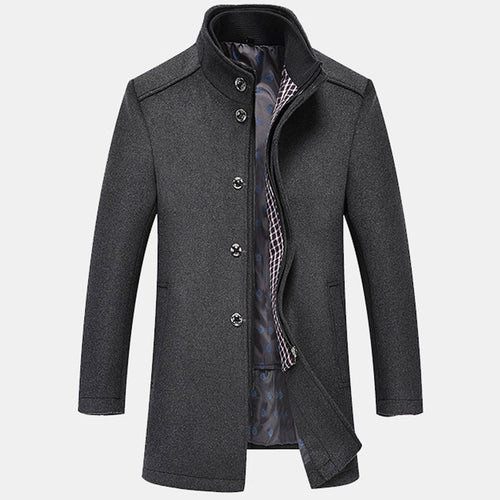 Stand Collar Plain Zipper Polyester Men's Trench Coat