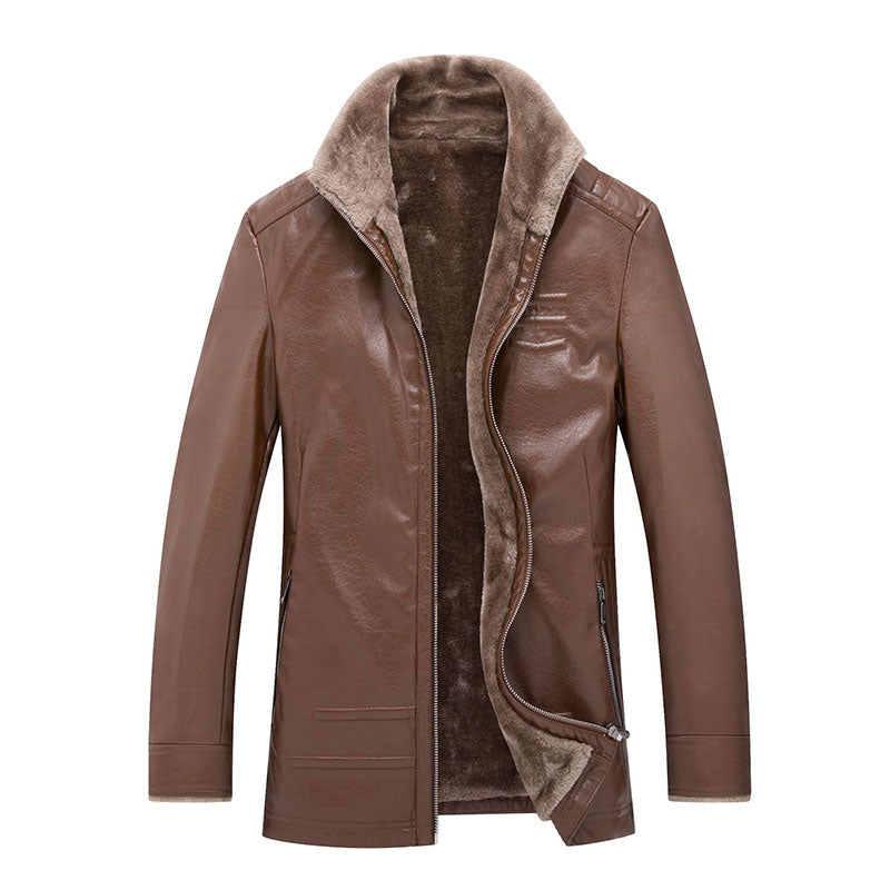 PU Zipper Lapel Polyester Pocket Men's Leather Coat