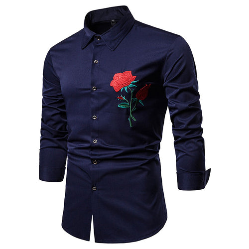 Casual Embroidery Long Sleeve Lapel Men's Shirts