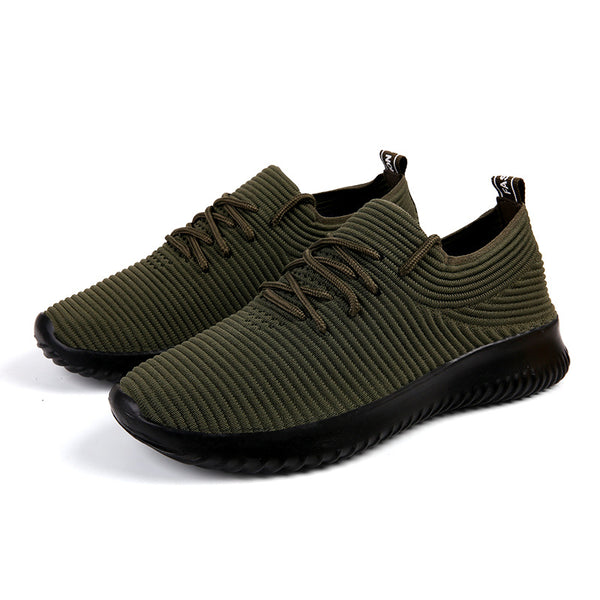 Fly Weaving Solid Color Running Outing Men's Sneakers