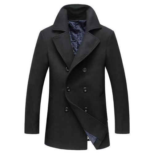 Polyester Lapel Casual Wool Blends Men's Trench Coat