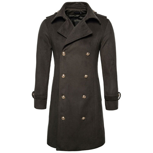 Plain Lapel Cotton Casual Pocket Men's Trench Coat