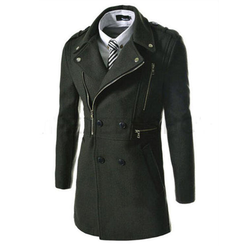 Casual Wool Blends Plain Lapel Men's Trench Coat