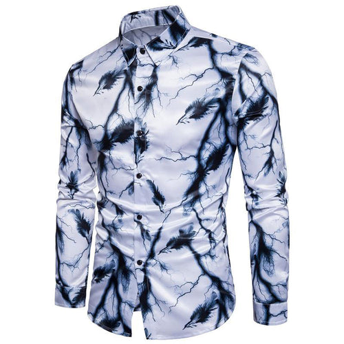 Lightning Feather Printing Long Sleeves Men's Shirts