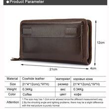 Genuine Leather Double Zipper Men's Wallets