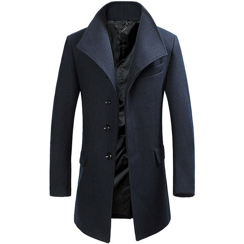 Lapel Plain Woolen Casual Stand Collar Men's Trench Coat