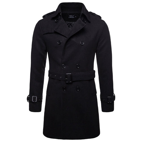 Plus Size Lapel Polyester Plain Button Men's Trench Coat