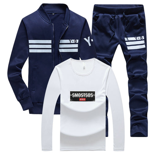 Stripe European Stand Collar Pocket Men's Tracksuit
