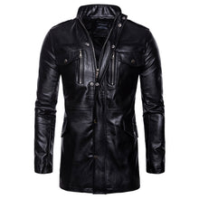 PU Stand Collar Plain Zippered Pocket Men's Leather Coat