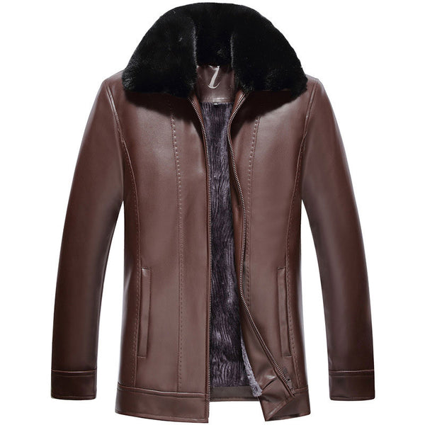 Zipper Casual PU Pocket Long Sleeve Men's Leather Coat