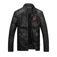 Biker PU Stand Up Collar Pattern Men's Leather Coat