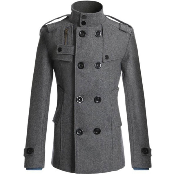 Plain Stand Collar Polyester Button Wool Blends Men's Trench Coat