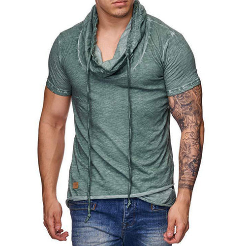 Stack Collar Of Pure Color For Leisure And Self-cultivation Men's T-shirt