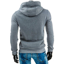 Blue Patchwork Lace Up Cotton Blends Men's Hoodies