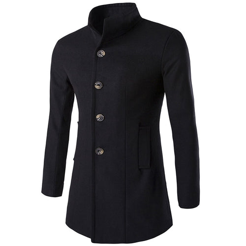 Pure Color Long Sleeve Single-Breasted Men's Trench Coat