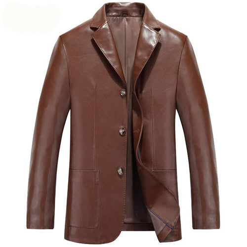 PU Lapel Plain Casual Polyester Button Men's Leather Coat