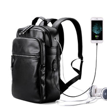 Leather Backpack External USB Charge 14 Inch Waterproof Laptop Bags