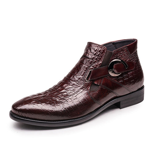 Men's Genuine Leather Alligator Ankle Boots