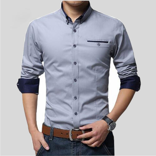 Men's 100% Cotton Slim Fit Business Shirt