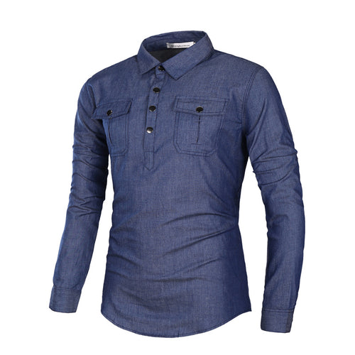 Cotton Long Sleeves Solid Color Men's Shirt