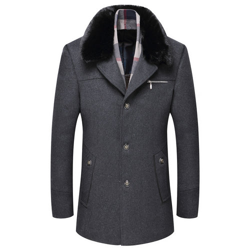 Plus Size Fur Collar Without Scarf Men's Trench Coat