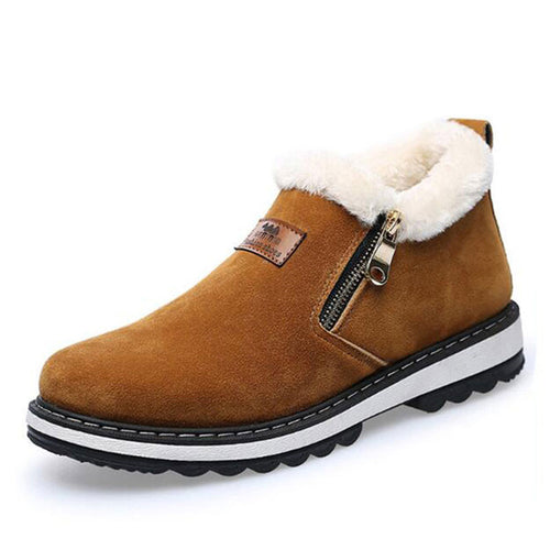 Warm Comfortable Round Toe Men's Leather Boots