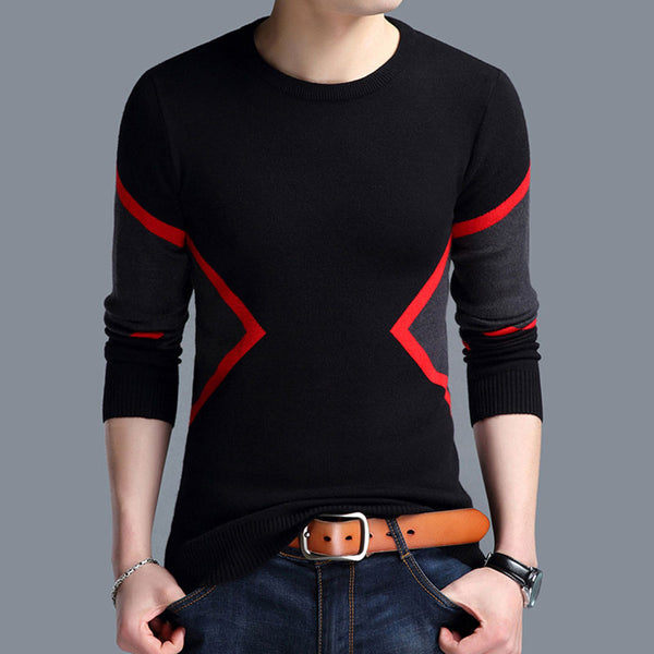 Patchwork Pullover Hit Color Warm Men's Sweater